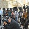 Periodistas en conferencia de prensa. Foto: UNAMI