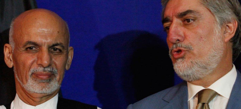 Le Président afghan Ashraf Ghani (à gauche) et le chef de l'exécutif Abdullah Abdullah.