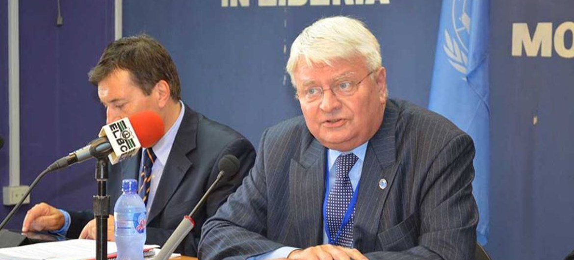 Under-Secretary-General for Peacekeeping Hervé Ladsous (right) addresses the media in Monrovia, Liberia, during his visit to the country to assess the Ebola virus outbreak.