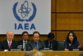 IAEA Director General Yukiya Amano (left) delivers his introductory statement at the Board of Governors Meeting in Vienna, Austria.