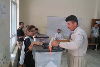 Voting in elections in Erbil, Iraq, in May 2014.