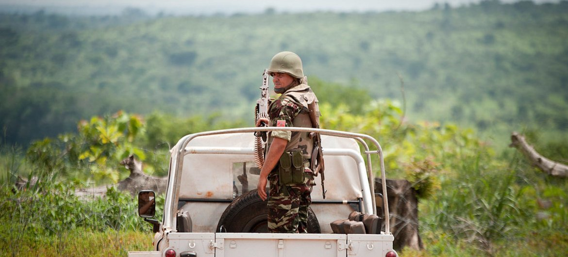 Moroccan peacekeepers serving with the UN Multidimensional Integrated Stabilization Mission in the Central African Republic (MINUSCA) in Bambari, northeast of the capital Bangui.