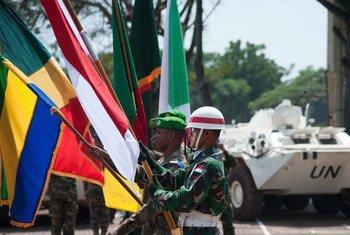 Ceremonia de entrega de la autoridad a la MINUSCA en República Centroafricana  Foto. ONU/Catianne Tijerina