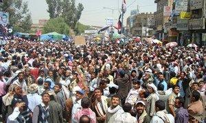 Une manifestation dans la capitale du Yémen, Sana'a, en 2014. Photo IRIN/Adel Yahya