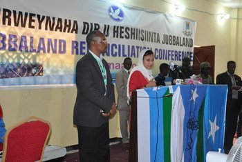 Deputy Special Representative for Somalia Fatiha Serour (second left) speaks at the opening ceremony of the Kismayo Reconciliation.