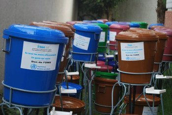 In response to the Ebola outbreak in West Africa, WHO has distributed these plastic buckets for hand washing in Guinea.