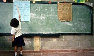A student in a classroom in Tegucigalpa, Honduras.