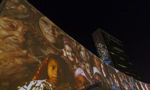 """Ahead of Secretary-General Ban Ki-moon's Climate Summit, UN Headquarters becomes canvas for """"Illuminations"""" projection display. 20 September 2014"""