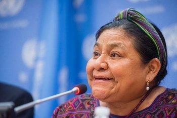La premio Nobel de la Paz guatemalteca, Rigoberta Menchú.