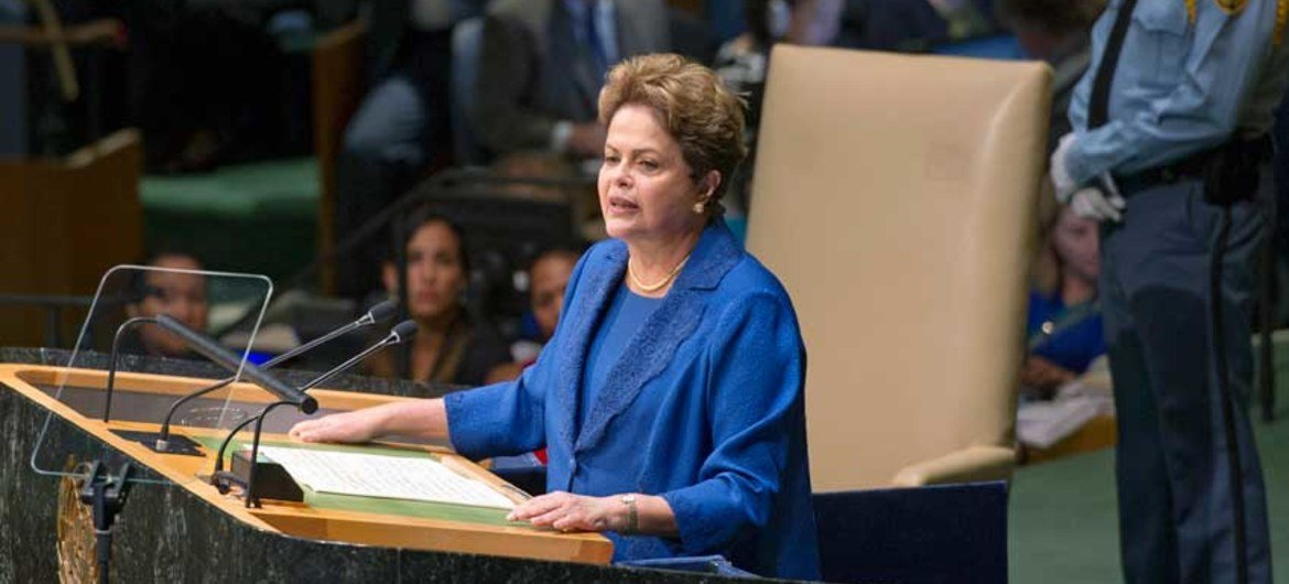 Dilma Rousseff, President of Brazil, addresses the general debate of the sixty-ninth session of the General Assembly.