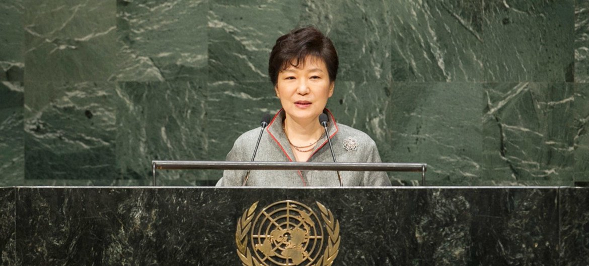 President of the Republic of Korea, Park Geun-hye, addresses the general debate of the sixty-ninth session of the General Assembly.