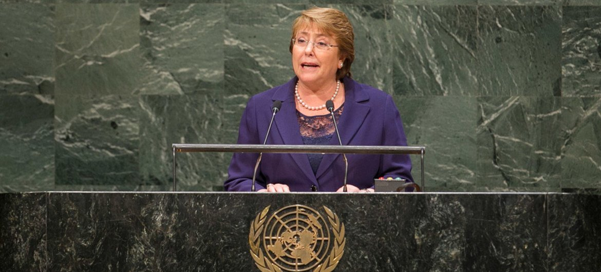 President Michelle Bachelet of Chile addresses the general debate of the sixty-ninth session of the General Assembly.