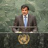 Emir of Qatar Sheikh Tamim bin Hamad Al-Thani addresses the general debate of the sixty-ninth session of the General Assembly.