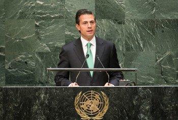 Enrique Peña Nieto en la Asamblea General de la ONU. Foto de archivo: ONU/Cia Pak