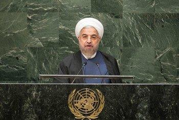 El presidente de Irán, Hassan Rouhani, se dirige a la Asamblea General Foto archivo: ONU/Cia Pak /