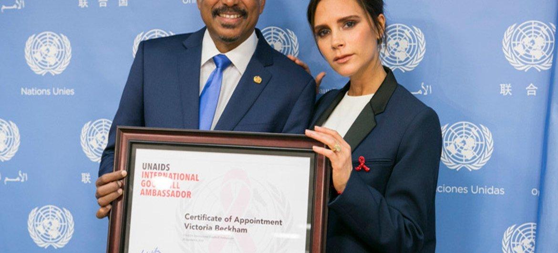 Michel Sidibé, Executive Director of UNAIDS (left) and new International Goodwill Ambassador, British fashion designer Victoria Beckham.
