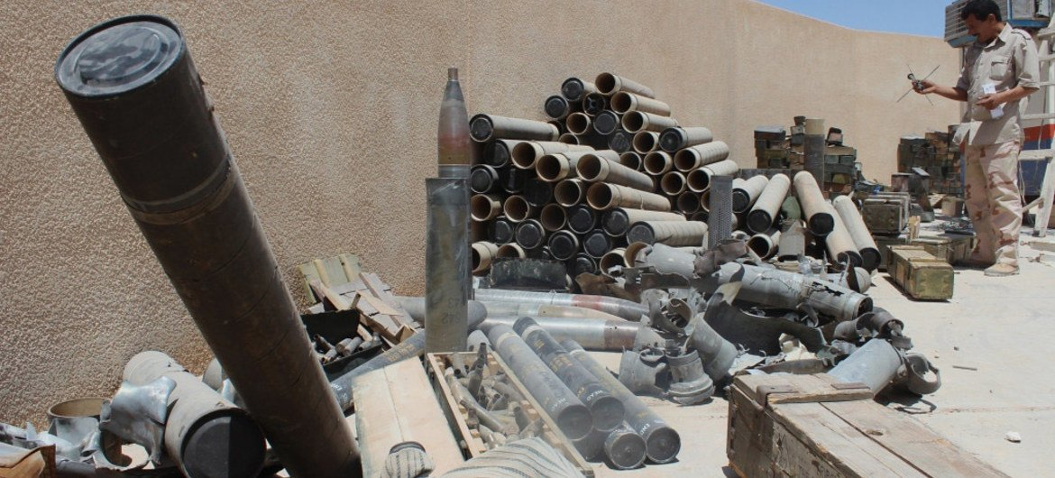 Various unexploded ordnance (UXO) and ammunition from the ongoing conflict in Libya.