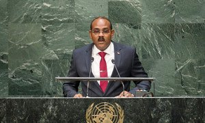 Prime Minister Gaston Alphonso Browne of Antigua and Barbuda addresses the General Assembly.
