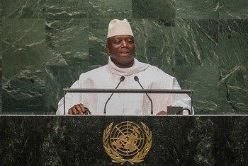 冈比亚总统亚希亚·贾梅(Yahya Jammeh)2014年9月在联大发言。联合国图片/Cia Pak