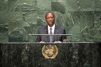 Le Président de la Côte d'Ivoire, Alassane Ouattara. Photo ONU/Amanda Voisard