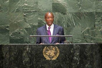 Le Président de la Guinée, Alpha Condé, devant l'Assemblée générale des Nations Unies en 2014. Photo ONU/Amanda Voisard