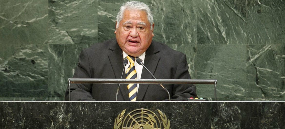 Tuilaepa Sailele Malielegaoi, Prime Minister and Minister for Foreign Affairs and Trade of the Independent State of Samoa,  addresses the General Assembly.