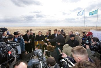Secretary-General Ban Ki-moon  visiting Ground Zero of the Semipalatinsk Nuclear Test Site. In his statement Mr. Ban urged all the leaders of the world, particularly nuclear weapon states, to work together with the United Nations to realize the aspiration and dream of a world free of nuclear weapons (file photo, April 2010)