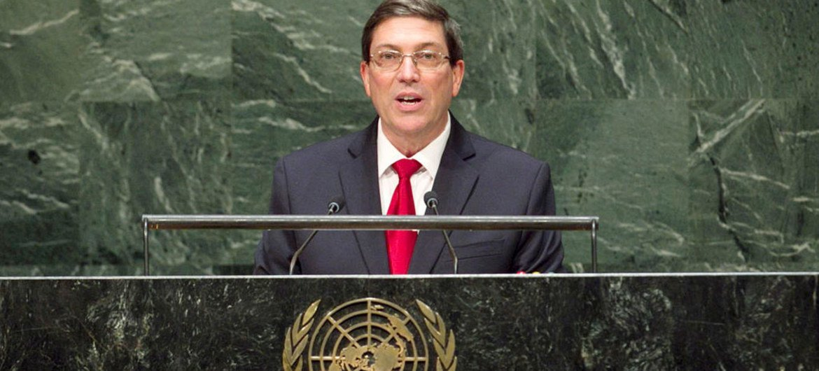 Foreign Minister Bruno Rodríguez Parrilla of Cuba addresses the General Assembly.