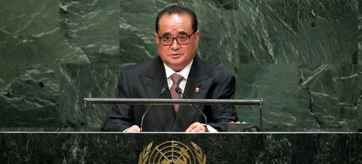 Foreign Minister Ri Su Yong of the Democratic People's Republic of Korea addresses the General Assembly.