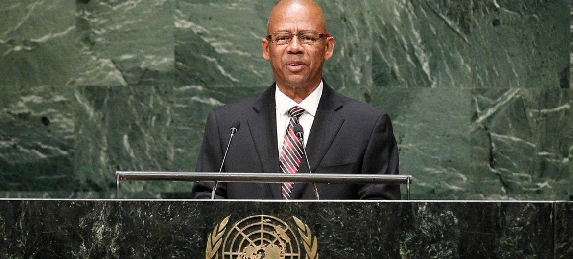 Foreign Minister Winston G. Lackin of the Republic of Suriname addresses the General Assembly.