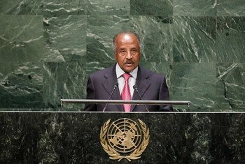 Foreign Minister Osman Mohammed Saleh of Eritrea addresses the General Assembly.