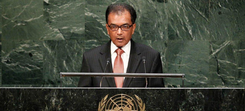 Le Représentant permanent de l'île Maurice auprès des Nations Unies, Milan Jaya Nyamrajsingh Meettarbhan. Photo ONU/Amanda Voisard
