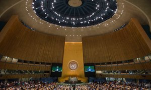 A wide view of the General Assembly Hall.