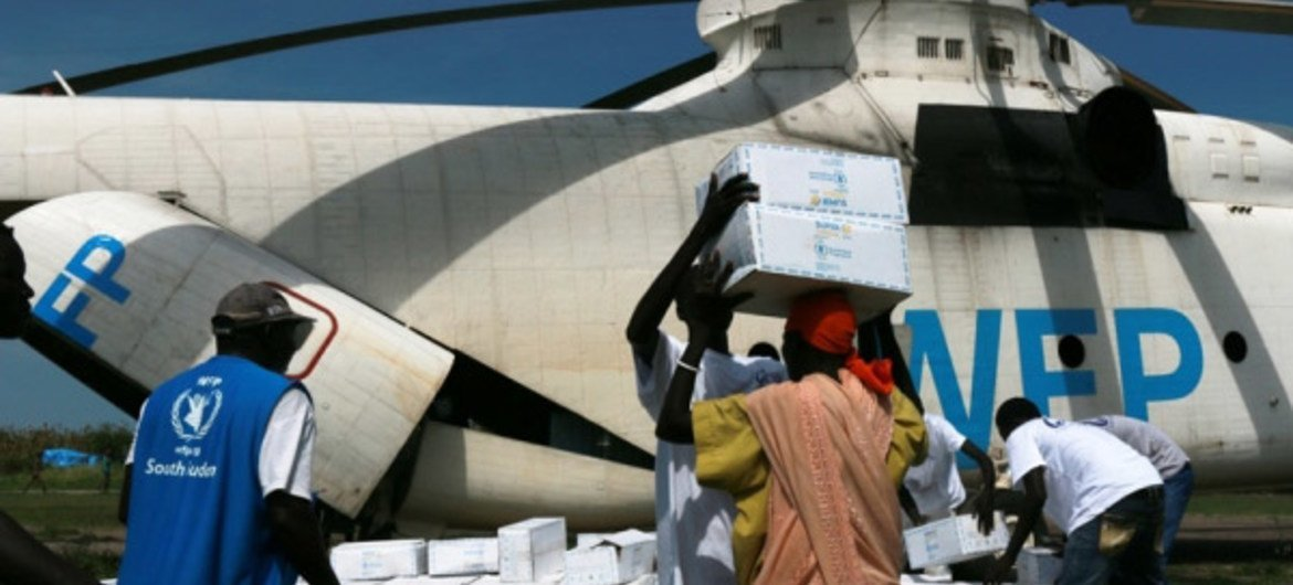 A WFP-operated helicopter in South Sudan.