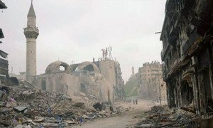 Destruction in the ancient city of Aleppo, Syria.