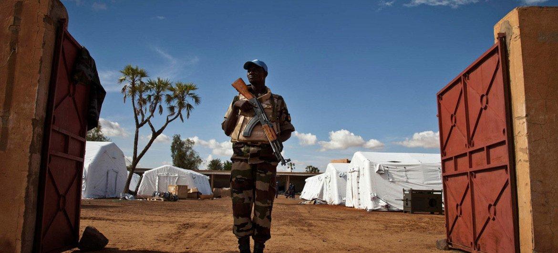 A UN peacekeeper from Niger on patrol in Gao, Mali.
