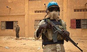 Un Casque bleu sénégalais patrouille avec un soldat malien à Kidal en juillet 2013. (archive)