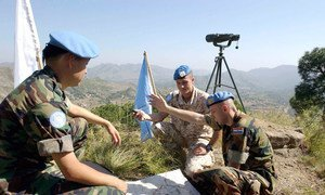 Peacekeepers from the UN Military Observer Group in India and Pakistan (UNMOGIP) at the Line of Control that separates the two countries.