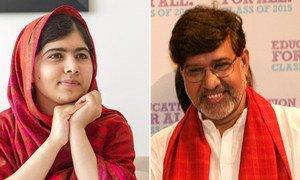 Malala Yousafzai of Pakistan (left) and Kailash Satyarthi of India (right) were awarded the 2014 Nobel Prize for Peace.