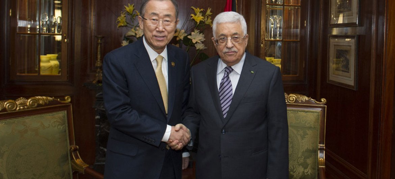 Secretary-General Ban Ki-moon and Palestinian President Mahmoud Abbas at International Gaza Reconstruction Conference, Cairo, Egypt (12 October 2014).