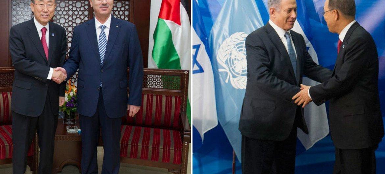 Le Secrétaire général Ban Ki-moon rencontre le Premier ministre palestinien Rami Hamdallah (à gauche) et le Premier ministre israélien Benjamin Netanayhu (à droite). Photo ONU/Eskinder Debebe