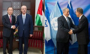 Secretary-General Ban Ki-moon meets with Prime Minister Rami Hamdallah of  the State of Palestine (left) and with Israeli Prime Minister Benjamin Netanyahu (right).