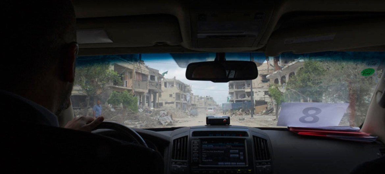 Secretary-General Ban Ki-moon visits the war-ravaged enclave of Gaza, 14 October 2014.
