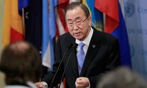 Le Secrétaire général des Nations Unies, Ban Ki-moon, lors d'une conférence de presse au siège de l'ONU, à New York. Photo : ONU/Paulo Filgueiras