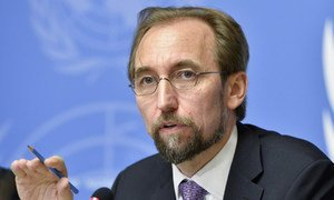 Zeid Ra'ad Al-Hussein, recently appointed UN High Commissioner for Human Rights, holds his first press conference in Geneva, 16 October 2014.