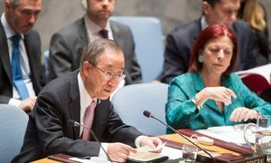 Secretary-General Ban Ki-moon (left) addresses the Security Council meeting on the situation in the Middle East, including the Palestinian question. Security Council President for the month of October, María Cristina Perceval of Argentina, is at right.