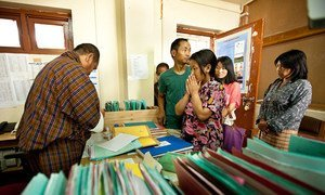 Patients wait to take their daily tuberculosis treatment at the Jigme Dorji Wangchuck National Referral Hospital in Bhutan.