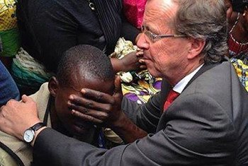 Head of MONUSCO, Martin Kobler, comforting a Beni, North Kivu, resident who had several family members killed during recent attacks attributed to ADF rebels, in the Democratic Republic of the Congo (DRC).