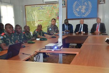 From right: Head of MONUSCO Martin Kobler, UN Special Envoy for the Great Lakes region, Said Djinnit and Boubacar Diarra, AU Special Representative for Burundi and the Great Lakes region meeting in Beni, Democratic Republic of the Congo (DRC) with Commanders of FARDC.