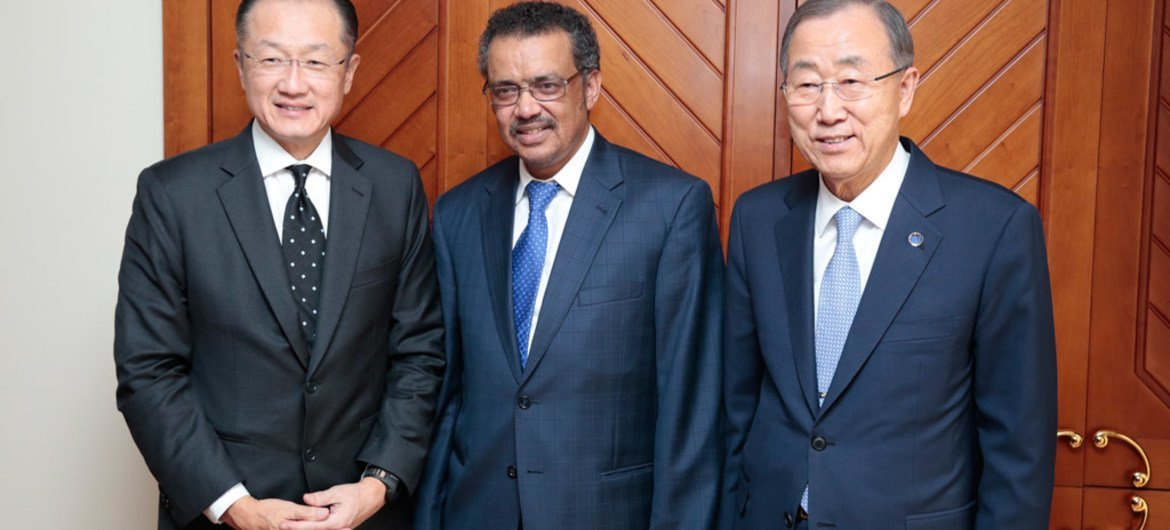 Secretary-General Ban Ki-moon (right) and Jim Yong Kim (left), President of the World Bank, meet with Tedros Adhanom Ghebreyesus, Foreign Minister of Ethiopia, during their trip to Addis Ababa, Ethiopia.